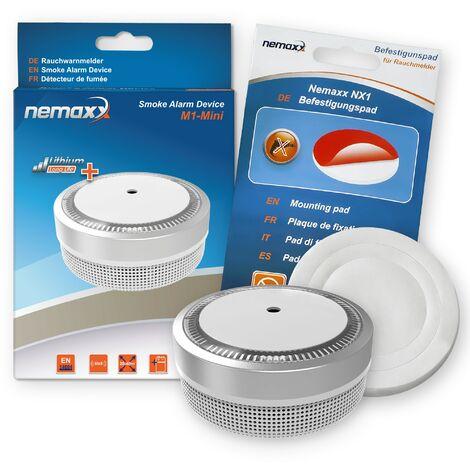 1x Nemaxx Detector de humo M1-Mini sensibilidad fotoeléctrica - con batería de litio tipo DC3V - conforme la norma DIN EN14604 & Vds - plateado + NX1 Pad de fijación