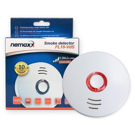 1x Nemaxx FL10VdS - VDS Detector de humo/ Alarma - Vds certificado EN 14604 con pila de de lítio incluida de larga duración - 10 años de vida - blanco