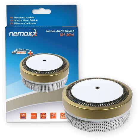 1x Nemaxx M1-Mini Rauchmelder goldfarben - fotoelektrischer Rauchwarnmelder nach neuestem VdS Standard mit Lithiumbatterie Typ DC3V und DIN EN14604 + 1x Nemaxx Magnethalterung