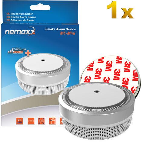 1x Nemaxx M1-Mini Rauchmelder silberfarben - fotoelektrischer Rauchwarnmelder nach neuestem VdS Standard mit Lithiumbatterie Typ DC3V nach DIN EN14604 + 1x Nemaxx Magnethalterung