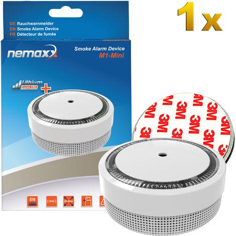 1x Nemaxx M1-Mini Rauchmelder weiß - 1x Nemaxx Magnethalterung
