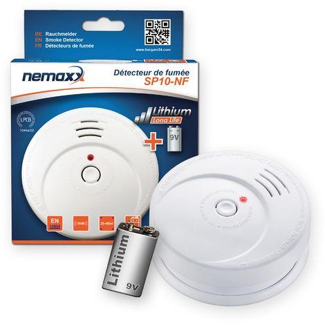 1x Nemaxx SP détecteurs de fumée durable avec 10 ans pile au lithium 9V - DIN EN 14604 : 2005/AC : 2008 certifié