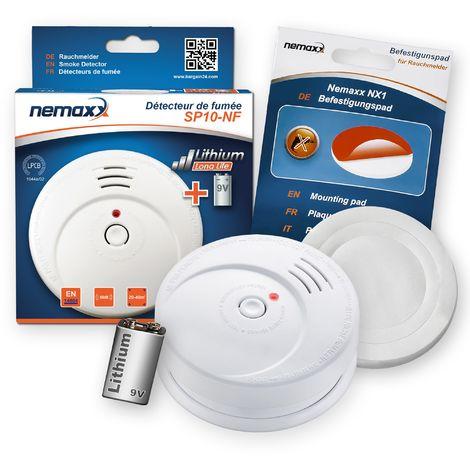 1x Nemaxx SP10-NF Detector de humo - pila de litio larga duración de 9V - DIN EN 14604 + NX1 Pad de fijación