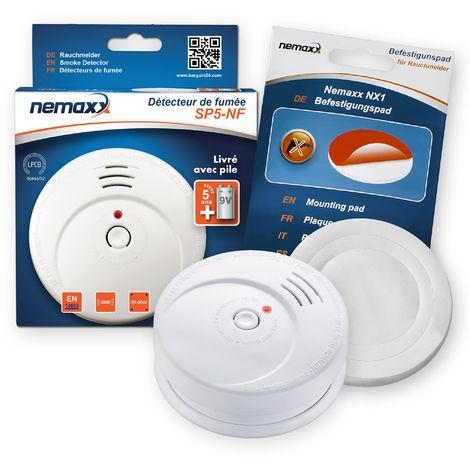 1x Nemaxx SP5-NF Detector de humo de alta calidad con pila incluida de 9V - Blanco + NX1 Pad de fijación