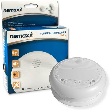1x Nemaxx WL2 détecteur de fumée sans fil - de haute qualité réseaux couplés radio détecteur d'incendie - selon la norme DIN EN 14604