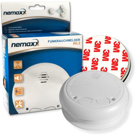 1x Nemaxx WL2 Detectores de humo inalámbrico, Detectores de Incendios inalámbrico conectable en red - conforme la norma EN 14604 + 1x Nemaxx NX1 Imán de fijación