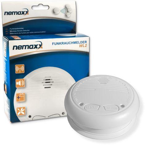 1x Nemaxx WL2 Funkrauchmelder - hochwertiger Rauchmelder Brandmelder Set Funk koppelbar vernetzt - nach DIN EN 14604