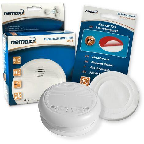 1x Nemaxx WL2 Funkrauchmelder Rauchmelder Brandmelder Set Funk koppelbar vernetzt - nach EN 14604 + 1x Nemaxx NX1 Quickfix Befestigungspad