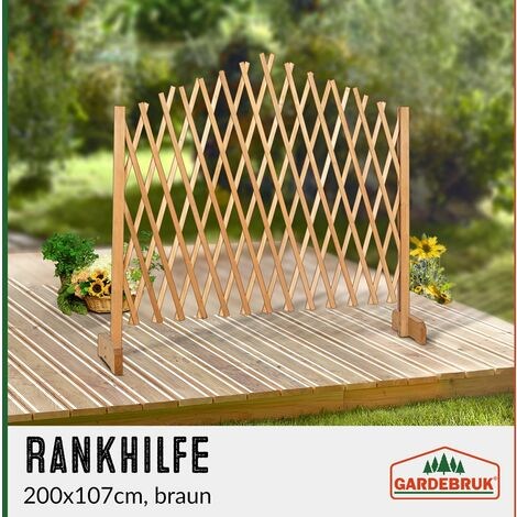 1x ou 2x Treillage Jardin Brun 180x107cm Support Plantes grimpantes Brise-Vue Pliable Clôture de Jardin Treillis Extensible Bois Pare-Vue Brun