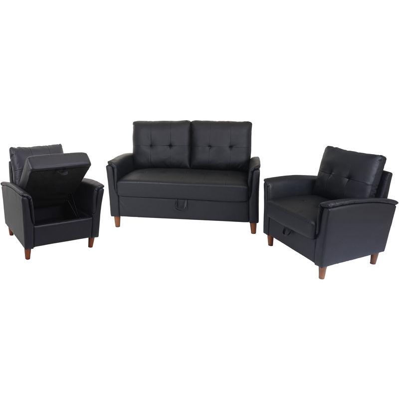 2-1-1 Couchgarnitur 694, 2er Sofa Sofagarnitur Loungesessel Relaxsessel, Gastronomie Staufach ~ Kunstleder, schwarz - HHG