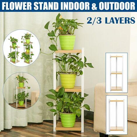 2/3 Layer Nordic Flower Stand Floor Corner Pot Rack Shelf for Home / Living Room / Indoor / Outdoor