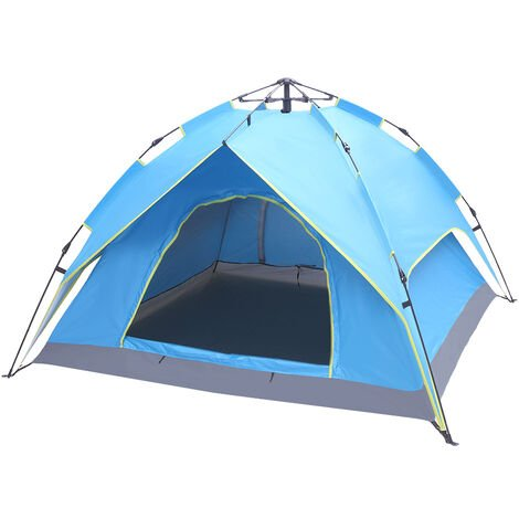 2-3 Person Double-Deck Tow-Door Hydraulic Automatic Tent Free Build Outdoor Tent Blue