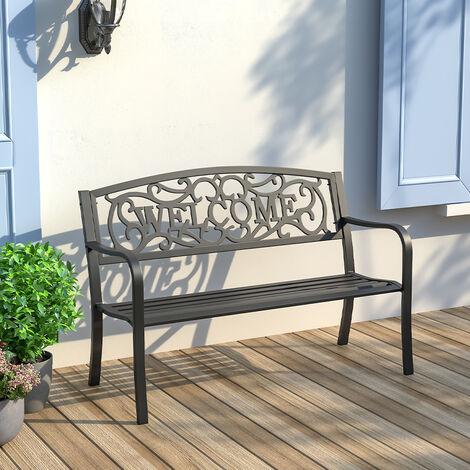2-3 Seater Garden Bench Cast Iron Metal Seat Backrest Patio Chair Armrest Outdoor