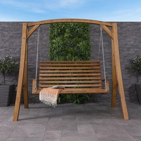2-3 Seater Larch Wood Wooden Garden Outdoor Swing Seat Bench Hammock 1.9M - Brown