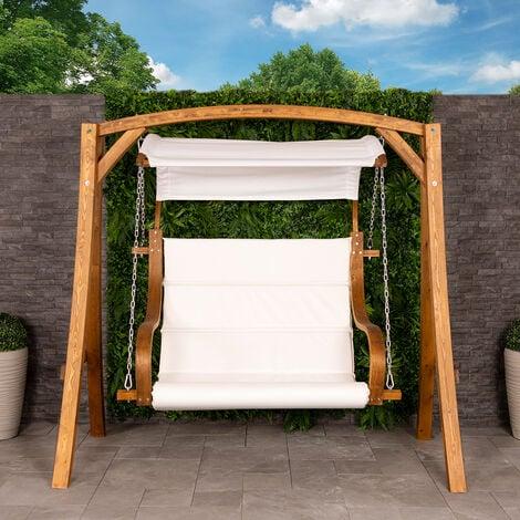 2-3 Seater Larch Wooden Garden Outdoor Swing Seat Hammock Cream Canopy 1.9M - Brown