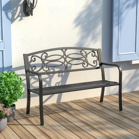 2-3 Seater Outdoor Metal Garden Bench Patio Cast Iron Park Seat Furniture