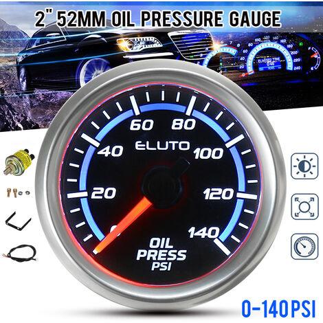 """2 """"52mm 0-140PSI jauge de pression d'huile bleu LED compteur de voiture de visage noir avec capteur"""