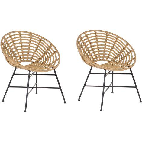 2 Accent Chair Set PE Rattan Metal Frame Light Brown Acerra