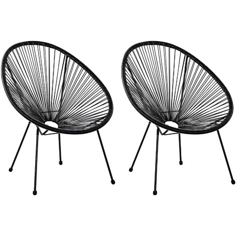 2 Accent Chair Set Round Rattan Weave Steel Living Room Black Acapulco II