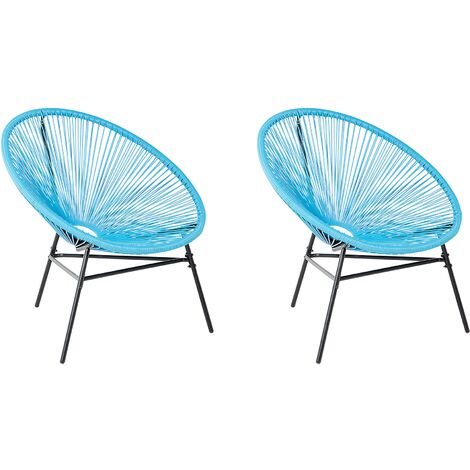 2 Accent Chair Set Round Rattan Weave Steel Living Room Blue Acapulco