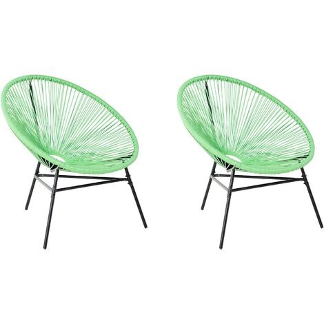 2 Accent Chair Set Round Rattan Weave Steel Living Room Green Acapulco