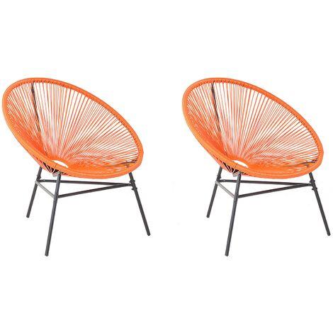 2 Accent Chair Set Round Rattan Weave Steel Living Room Orange Acapulco
