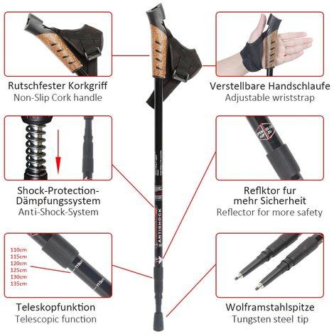 2 Alu Nordic Walking poles Red Telescope Anti-shock Trekking Hiking