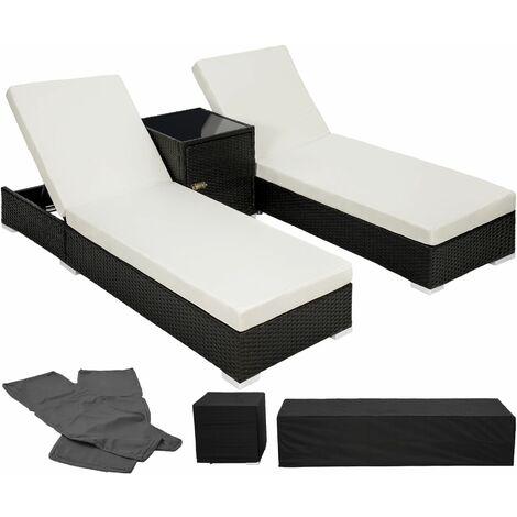 2 sunloungers + table with protective cover rattan aluminium - reclining sun lounger, garden lounge chair, sun chair - black - black
