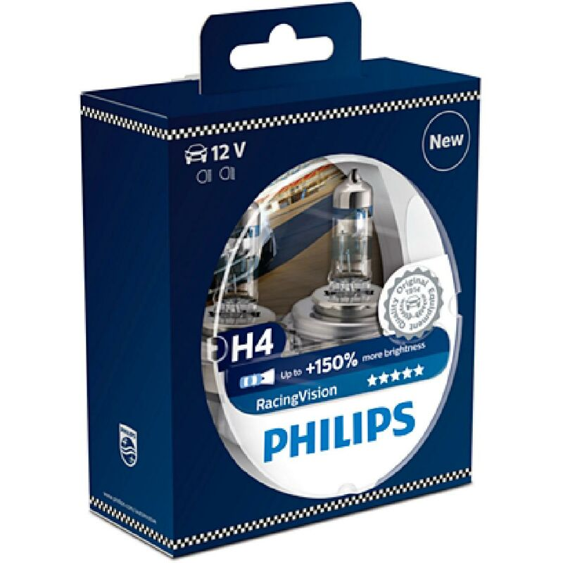 2 ampoules H4 12V 60-55W Racing Vision +150 PHILIPS