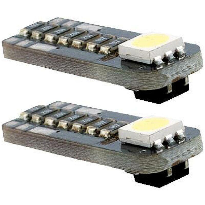 2 Ampoules LED - T10 12V 3W 8000K - W2.1x9.5D - Puce SMD - Position Verticale