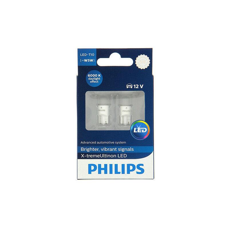Philips - 2 Ampoules LED W5W - 12 V - W2,1x9,5d - 5W - Clignotant - Plafonnier - Feux de route - Feux de croisement