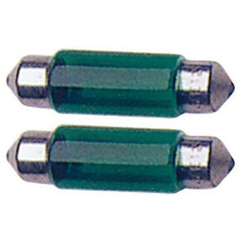 2 Ampoules Navettes - 12V10W - T11 - Vert - C5W - 41mm
