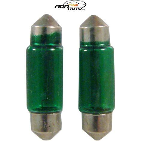 2 Ampoules Navettes - 12V5W - T11 - Vert - C5W - 35mm