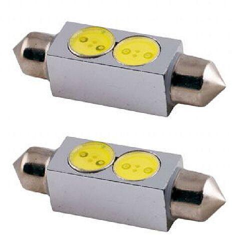 2 Ampoules Navettes 41mm - 2 LEDs - T11x41 - 12V 1W 7000K - SV8.5 - Puce SMD