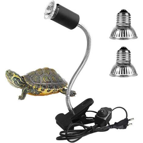 2 Ampoules UVA UVB 25W et 50W,Lampe Reptiles Lampe Tortue Terrestre Chauffante avec Base Longue 360°Rotation pour Reptiles et Amphibiens[Classe énergétique A +]