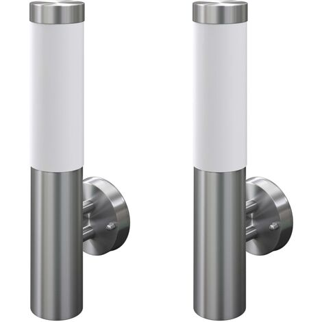 2 apliques de exterior l mparas de pared acero inoxidable for Apliques de pared exterior