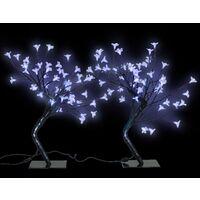 2 Árboles De Luz De LED Azul Flor De Cerezo