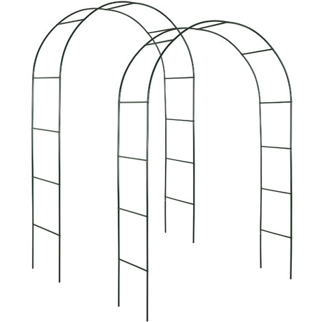 2 Arches de jardin pour Plantes Grimpantes et Rosiers - 240 x 140 cm - en Acier vert foncé