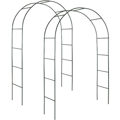 2 Arco para enredaderas aprox. 240cm - arco para flores estable, arco de jardín de acero elegante para plantas, soporte para planta trepadora - verde
