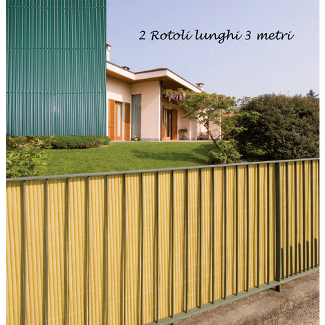 2 Arella Doppia In Bamboo Pvc Recinzione 3x1 3x1 5 3x2 Verde Beige