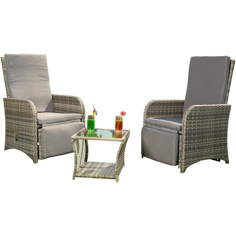 2 armchairs + table grey polyrattan lounge suite garden furniture chair