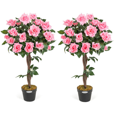 2 Artificial Rose Trees