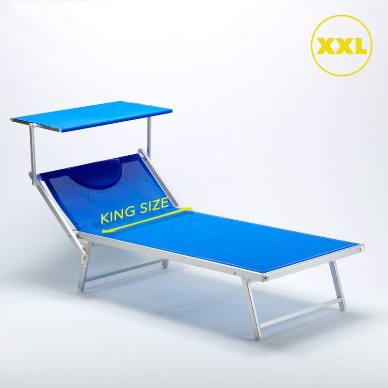 2 Bain de soleil XXL professionnels chaises longue piscine transat aluminium ITALIA Extralarge | Bleu