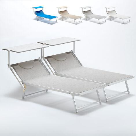 2 Bain de soleil XXL professionnels chaises longue piscine transat aluminium ITALIA Extralarge