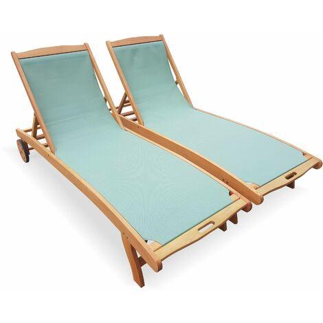 2 bains de soleil en bois Marbella, transats en eucalyptus FSC huilé et textilène vert de gris