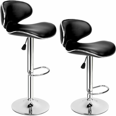 2 bar stools Bassi made of artificial leather - breakfast bar stools, kitchen stools, kitchen bar stools - black