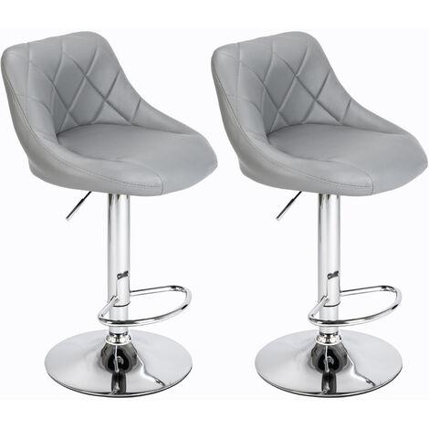 "main image of ""2 bar stools breakfast bar stools, kitchen stools, kitchen bar stools - Grey - Grey"""