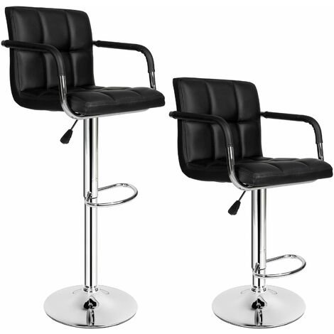 2 bar stools Harald made of artificial leather - breakfast bar stools, kitchen stools, kitchen bar stools - black
