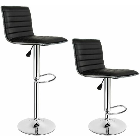 2 bar stools Johannes made of artificial leather - breakfast bar stools, kitchen stools, kitchen bar stools - black