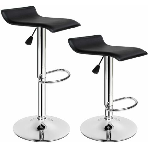 2 bar stools Lars made of artificial leather - breakfast bar stools, kitchen stools, kitchen bar stools - black